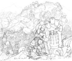 War: line art by Howietzer