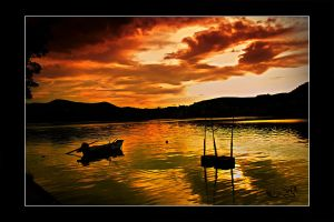 magin sunset over the lake by archonGX