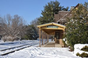 Snow Covered Train Station by FairieGoodMother