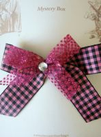 Black and Pink Check Hair Barrette by kjtgp1