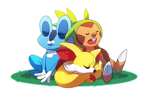 Pokemon X and Y Starters by tabby-like-a-cat