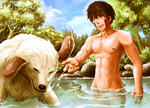 Bath Time: Kiba and Akamaru by Usaki-Ikasu