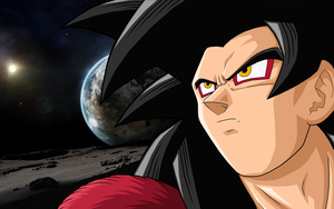 Goku SSJ4 On Moon by drozdoo