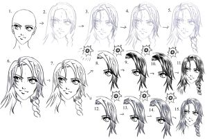 Drawing Hair Tutorial 2 by manic-goose
