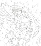 Lineart: Aiacos y Violate by Rusembell
