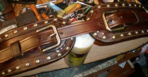 Brown studded Cinch Belt by davehalleng