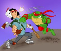 Raph Vs. Casey colored. by scootah91