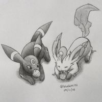 Commission: Umbreon and Leafeon by Bluekiss131