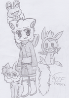 Herpderp Lucy and the starters for X and Y by CaraTheHedgehog