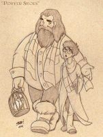Hagrid and Harry by amandagrazini