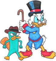 Scrooge and Perry by nintendomaximus