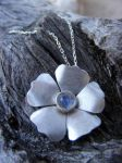 Silver Wild Rose with Moonston by MoonLitCreations