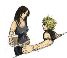 cloud and tifa in the bar by blackbird-sing