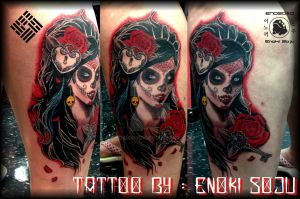 Day of the Dead Woman with Roses Tattoo By Enoki by enokisoju