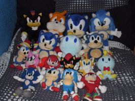 My Sonic Plush Collection by DarkGamer2011