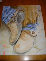 Watercolor boots by ryliecat