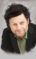 Andy Serkis painting in Photoshop by Packwood