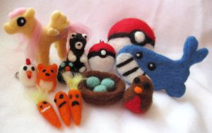 First Week of Needle Felting by P-isfor-Plushes