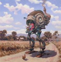 The Traveller and the Chook by postapocalypsia