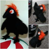 First Needle Felting Attempt: Hinata Shouyou Crow by neon-possum