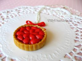Cute strawberry pie bowknot necklace by virahandmade