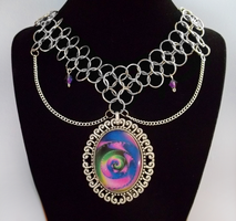 Chainmail Fractal Necklace by HoneyCatJewelry