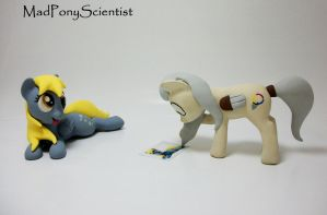 Derpy and OC Pony Palette sculpture commission by MadPonyScientist