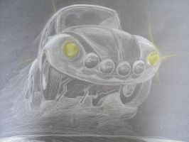 Negative Beetle Drawing by prestonthecarartist