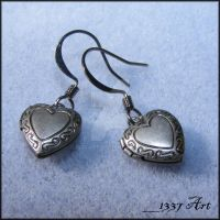 Heart Locket Earrings by 1337-Art