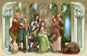 Dragon Age Elves - Art Nouveau Mural by ByTheOak