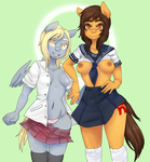 Maria The Mexican Pony and Derpy Hooves Seifuku by pettankochan