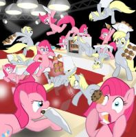 Pinki Pie vs Derpy Hooves by AdhyGriffin