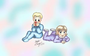 K4: Baby Twins-Anna and Marvin by MaskedSugarGirl
