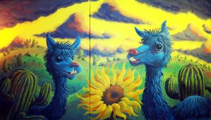 Dawn of the Turquoise Alpacas by sweetlygrotesque