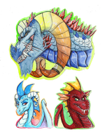 Portrait Series: Torch, Ember, and Garble by Earthsong9405