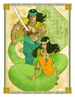 Filipino Warrior and Snake Woman by carverhouse