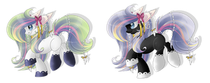 Rainbow+dark persocom-ponies AUCTION [CLOSED] by BlackFreya