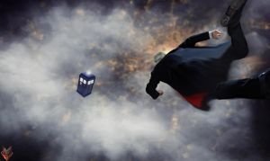 12th doctor - Falling to the T.A.R.D.I.S by spidermonkey23