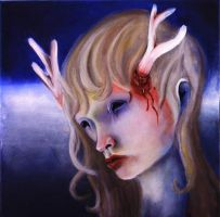Unhappy deer girl by the-surreal-arts