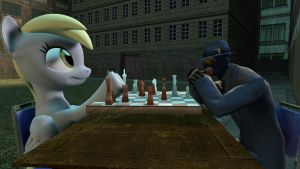 Secrios and Derpy play chess by thekingofvideogame10