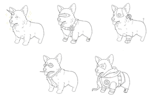 Themed Corgis by b-dangerous