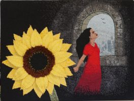 A Sunflower in Gormenghast by imagination-heart
