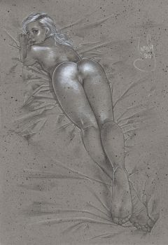 Enticing - Nude Drawing by JeffLafferty