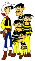 Lucky Luke and The Daltons by metheunawesome14