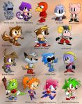 Sonic Multiverse character collection by foxheadTails