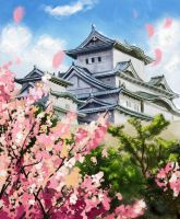 Castle and Sakura by acidlullaby