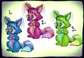 Free Adoptables: Three Washmouses by FractalBee