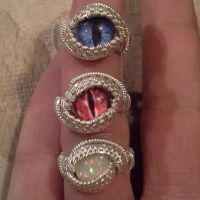 Wire Weaved Glass Eye Rings by Create-A-Pendant