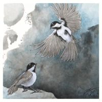 Sumi-e Print: Chickadees by dcwilson