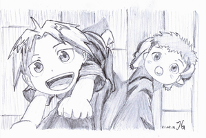 Baby Edward and Alphonse 2 by flyingscorpions